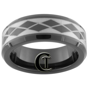 7mm Tungsten Carbide Beveled Argyle Pattern Laser Design Ring Sizes 5-15