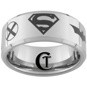 10mm Beveled Tungsten Carbide Justice League Laser Design Ring Sizes 4-17