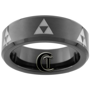 7mm Tungsten Carbide Beveled Legend of Zelda Triforce Design Ring Sizes 5-15