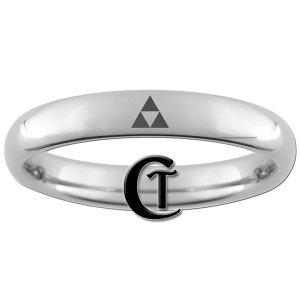 4mm Tungsten Carbide Legend of Zelda Triforce Laser Design Ring Sizes 4-13