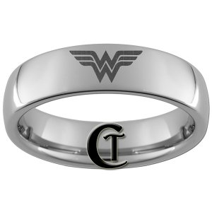6mm Dome Tungsten Carbide Laser Wonder Woman Design Ring Sizes 4-15
