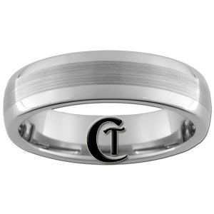6mm Dome Tungsten Carbide Satin Finish Band Ring Sizes 5-15