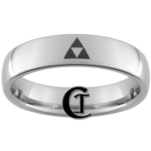 6mm Tungsten Carbide Legend of Zelda Triforce Laser Design Ring Sizes 4-15