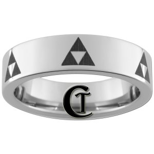 6mm Pipe Tungsten Carbide Legend of Zelda Triforce Laser Design Ring Sizes 4-15