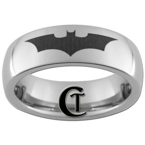 6mm Tungsten Carbide Domed Batman Design Ring Sizes 4-15