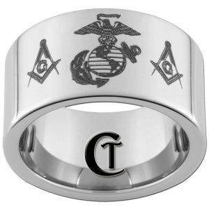 12mm Pipe Tungsten Carbide Marines Masonic Design Ring Sizes 5-15