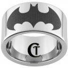 12mm Pipe Tungsten Carbide Laser Batman Design Ring Sizes 5-15