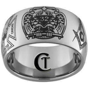 Tungsten Mens Ring 12mm Masonic Design Sizes 5-15