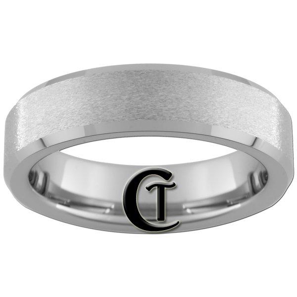 6mm Beveled Tungsten Carbide Band Ring Stone Finish Sizes 4-15