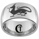 12mm Dome Tungsten Carbide Laser Dragon Design Ring Sizes 5-15