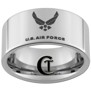 12mm Tungsten Carbide US Air Force Laser Design Ring Sizes 5-15