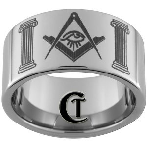 12mm Pipe Tungsten Carbide Masonic Square and Compass with All Seeing Eye and Pillars Sizes 5-15