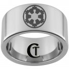 12mm Pipe Tungsten Carbide Laser Star Wars Empire Design Ring Sizes 5-15