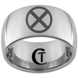 12mm Dome Tungsten Carbide Laser X Men Design Ring Sizes 5-15