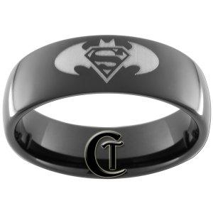 7mm Black Dome Tungsten Carbide Batman Superman Ring Sizes 5-15