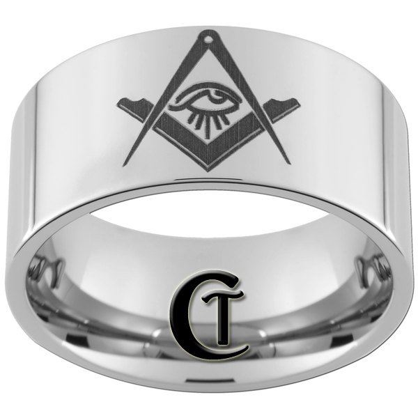 12mm Pipe Tungsten Carbide Masonic Square and Compass with All Seeing Eye Ring Sizes 5-15
