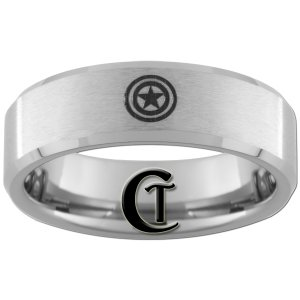 7mm Beveled Tungsten Carbide Satin Finish Captain America Laser Design Ring Sizes 5-15