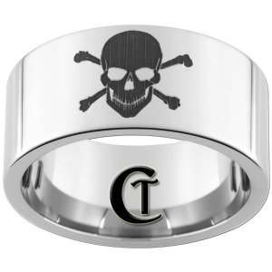 12mm Pipe Tungsten Carbide Laser Skull and Crossbones Design Ring Sizes 5-15