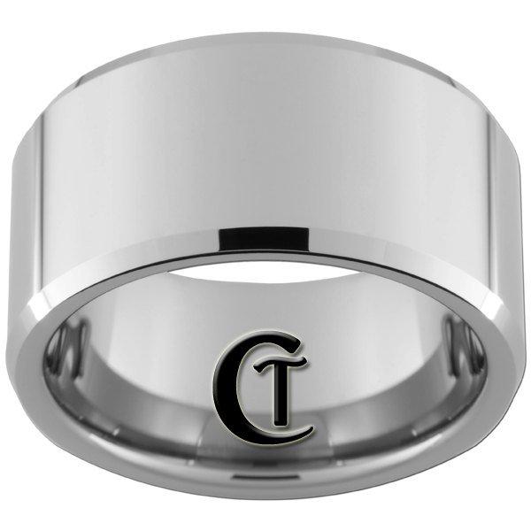12mm Beveled Tungsten Carbide Band Ring Design Sizes 5-15