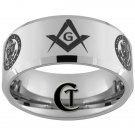 Tungsten Carbide Ring 10mm Beveled Military Army and Masonic Design Sizes 4-17