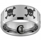 10mm Beveled Tungsten Carbide Laser Skulls Design Ring Sizes 4-17