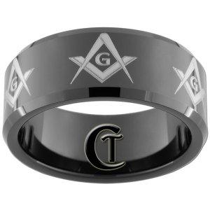 Mens Wedding Band Tungsten 10mm Black Beveled Masonic Master Mason Design Sizes 5-15