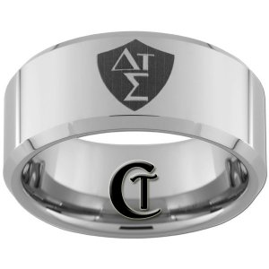 Tungsten Carbide 10mm Beveled Greek CTR Shield Design Ring Sizes 4-17