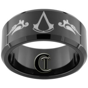 10mm Beveled Black Tungsten Carbide Assassin's Creed Laser Design Ring Sizes 5-15