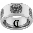 10mm Beveled Tungsten Carbide Laser Masonic 32 Degree Freemason Design Ring Sizes 4-17