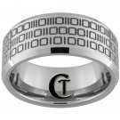 10mm Beveled Tungsten Carbide Band Binary Code Ring Sizes 4-17