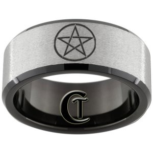 Tunsten Band 10mm Black Beveled Stone Finished Wiccan Star Design Ring Sizes 5-15