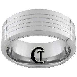 10mm Beveled Tungsten Carbide Laser Lines Design Ring Sizes 4-17