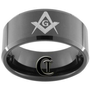 10mm Black Beveled Tungsten Carbide Freemason Masonic Ring Sizes 5-15