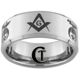 Mens Wedding Bands Tungsten 10mm Beveled Masonic Shriners Design Sizes 4-17