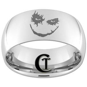 10mm Tungsten Carbide Joker Laser Design Ring Sizes 4-17