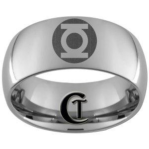 10mm Dome Tungsten Carbide Green Lantern Laser Design Ring Sizes 4-17
