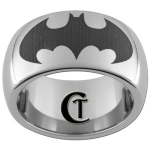 10mm Tungsten Carbide Batman Laser Design Ring Sizes 4-17