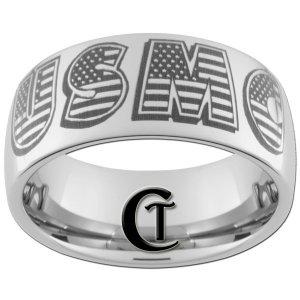10mm Tungsten Carbide USMC Laser Design Ring Sizes 4 -17