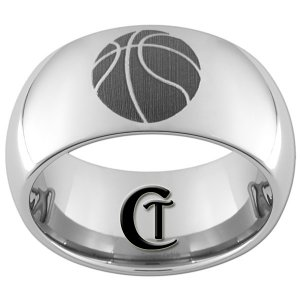 10mm Tungsten Carbide Basketball Laser Design Ring Sizes 4-17