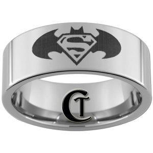 10mm Tungsten Carbide Batman & Superman Laser Design Ring Sizes 4-17