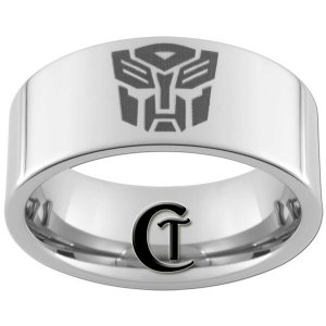 10mm Pipe Tungsten Carbide Transformers Autobot Laser Design Ring Sizes 4-17
