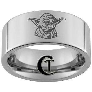 10mm Pipe Tungsten Carbide Laser Star Wars Yoda Design Ring Sizes 4-17