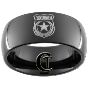 9mm Black Dome Tungsten Carbide Police Badge Design Ring Sizes 5-15