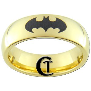 7mm Tungsten Carbide Domed Gold Black Lasered Batman Design Ring Sizes 5-15