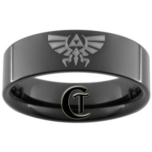 7mm Tungsten Carbide Pipe Legend of Zelda Skyward Sword Crest Design Ring Sizes 5-15