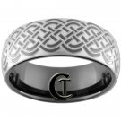 9mm Black Dome Tungsten Carbide Celtic Knot Ring Sizes 5-15