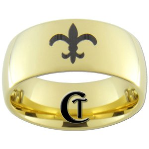 9mm Tungsten Carbide Domed Saints Fleur de Lis Design Ring Sizes 5-15
