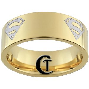 9mm Tungsten Carbide Pipe Multiple Superman Design Ring Sizes 5-15
