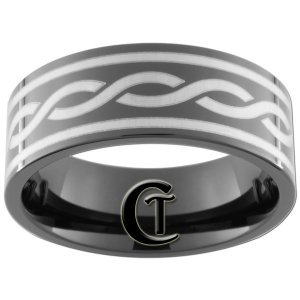9mm Black Pipe Tungsten Carbide Infinity Ring Sizes 5-15