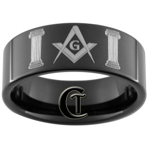 Tungsten Carbide 9mm Masonic Pillars Design Ring Sizes 5-15